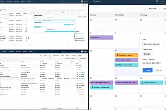 Wrike propose une grande variété de modes d'affichage : en feuilles de calcul, diagrammes de Gantt ou comme calendriers. (Crédit : Wrike)
