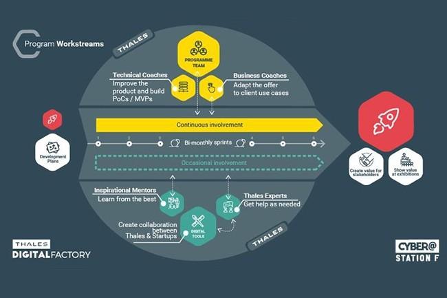 Le programme Cyber de Thalès offre aux start-ups lauréates un accès aux ressources du groupe, clientèle inclue, et des coaches personnalisés. (Crédit : Thalès)
