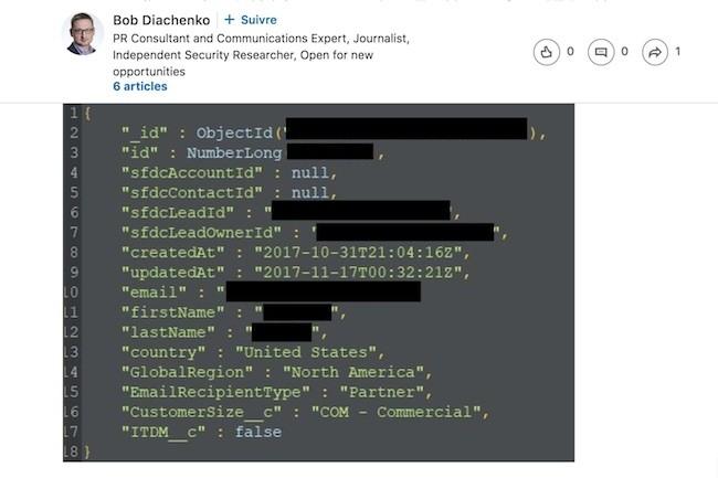 Le chercheur en sécurité Bob Diachenko a posté sur son profil Linkedin sa dernière découverte : 200 Go de données en libre accès sur les clients de Veeam. (Crédit D.R.)