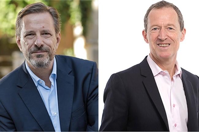 Thierry Ganter (à gauche), président du groupe Médiane-Axège, et Bruno Weber, président d'Admilia, co-dirigeront la nouvelle entité. (Crédit : Médiane).