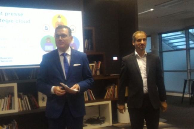 Helmut Reisinger (directeur général d'OBS) à gauche et Stéphan kanis (directeur général d'Orange Cloud for business), réunis pour un point presse de rentrée le 18 septembre au siège du groupe Orange à Paris. (crédit : D.F.)