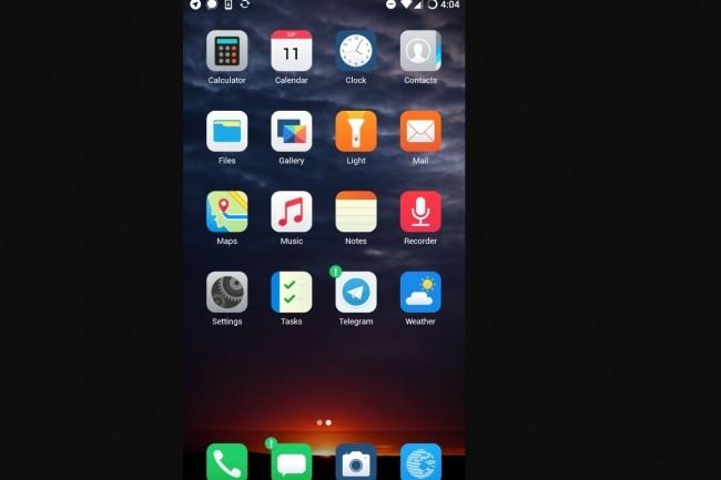 L'interface BlissLauncher avec les apps par défaut proposées dans le système d'exploitation open source eelo. (crédit : D.R.)
