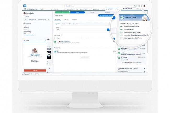 Einstein va permettre aux équipes marketing et commerciales d'identification des meilleurs leads ou d'avoir des recommandations de moments pour contacter des prospects, par exemple. (Crédit : Salesforce)