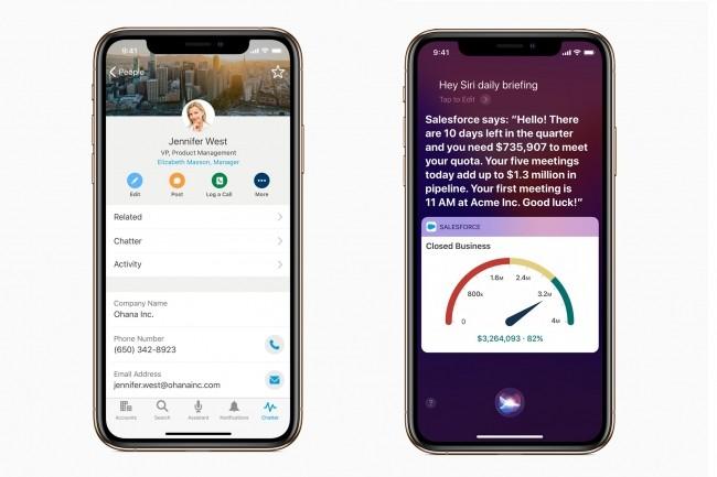 L'intégration de Salesforce à l'iOS permettra également aux utilisateurs de se servir d'Einstein Voice, l'assistant vocale de Salesforce, avec Siri. (Crédit : Apple)