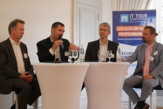 L'IT Tour Strasbourg va se dérouler le 18 octobre à la CCI, comme en 2017 avec en plateau de gauche à droite Emmanuel Brunstein (DOSI de N Schlumberger), Alexis Rozier (Directeur informatique de SFA), Serge Chavant (DSI à temps partagé) ainsi qu'Alexandre Diemer (RSSI Conseil de l'Europe et Membre du Cesin). crédit : LMI