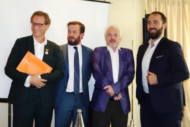 De gauche à droite, Jean-Noël de Galzain, fondateur de Wallix ; Franck Lheureux, DG EMEA d'Ivalua ; Ori Pekelman, co-fondateur de Platform.sh et Baptiste Jourdan, co-fondateur de Toucan Toco. (Crédit : LMI/MG)