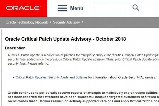 Oracle détaille dans son bulletin de sécurité d'octobre la liste de ses logiciels disposant de correctifs.