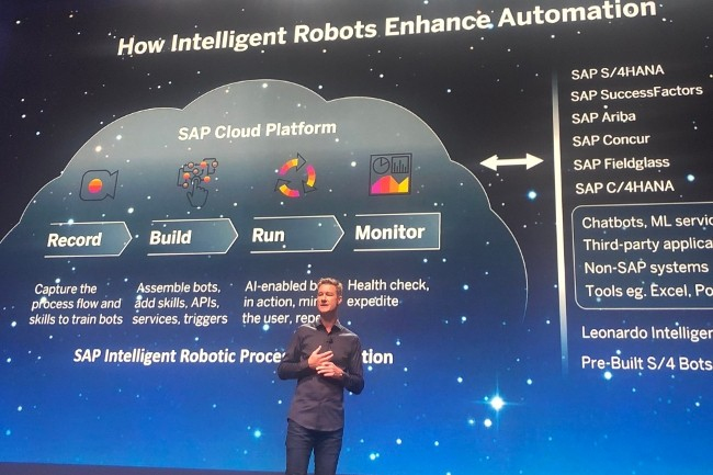 Björn Goerke, CTO de SAP Cloud Platform, a présenté les ambitions de l'éditeur dans le RPA. (Crédit Photo: DR)