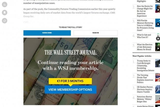 En fonction des comportements de ses lecteurs, le site du Wall Street Journal affiche au moment le plus opportun le « mur de monétisation » pour s'abonner en ligne. (Crédit : WSJ)