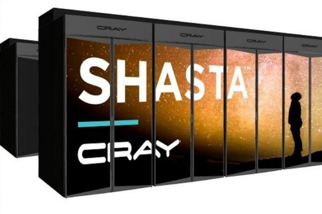 Le supercalculateur Shasta de Cray peut monter jusqu'à l'exascale en alignant jusqu'à plus de 100 racks. (Crédit : D.R.)