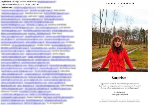 365 adresses mails diffusées dans un mail constitué d'une image : Tara Jarmon a quelques difficultés pour son marketing.