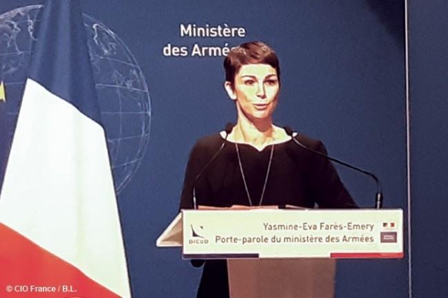 mYasmine-Eva Farès-Emery, porte-parole du Ministère des Armées, a présenté le point presse du 15 Novembre 2018.