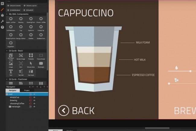 Avec Qt Design Studio 1.0, les concepteurs peuvent visualiser la vue graphique tandis que les développeurs consultent le code QML. En utilisant ce workflow, on peut faire tourner des travaux Photoshop sur les terminaux au bout de quelques minutes. (Crédit : Qt)