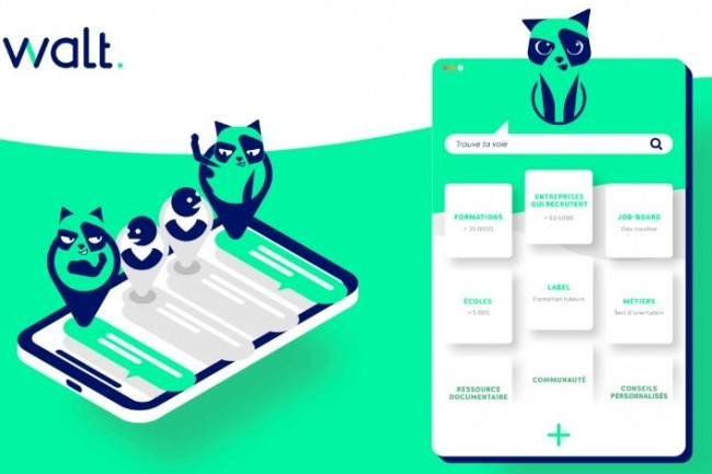 Le service Walt se compose d'une plate-forme et d'un chatbot qui permettent aux jeunes et aux professionnels de trouver des informations sur la formule de l'alternance. (Crédit : D.R.)