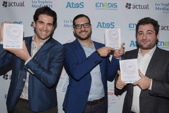 De droite à gauche : Thomas d'Hauteville, co-fondateur d'Innership, Makram Torkhani responsable de la stratégie de Yatedo et Yohan Zibi, directeur général d'Everycheck. (Crédit.Jacques Benaroch)