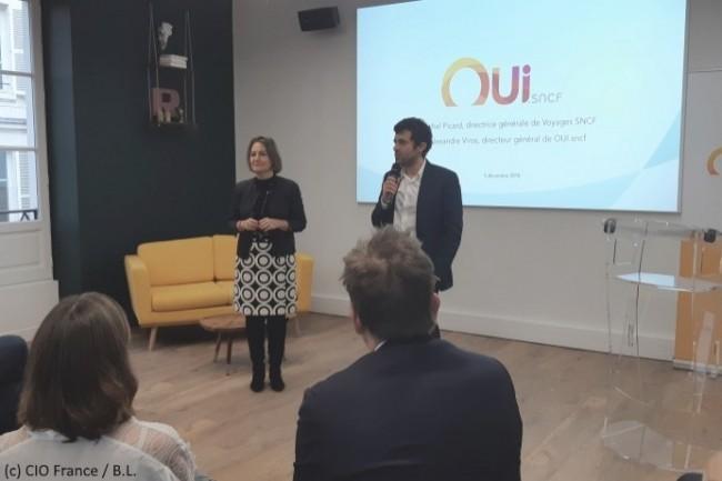 Rachel Picard, directrice générale de Voyages SNCF, et Alexandre Viros, directeur général de Oui.sncf, ont commenté la réussite de Oui.sncf lors d'une présentation à la presse.