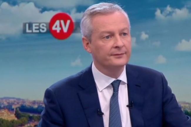 Bruno Le Maire, sur le plateau TV de l'émission « Les 4 Vérités » sur France2 mercredi pour défendre une taxation des GAFA au niveau national en cas de défaut d'accord au niveau européen d'ici mars 2019. (crédit : D.R.)