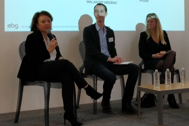 Laurence Proust de Pfizer, Marc Fargeas de Médéric Malakoff, Capucine Guéret de Coty (Bourjois) ont expliqué l'impact de l'IA sur leur secteur d'activité. (Crédit Photo: DR)