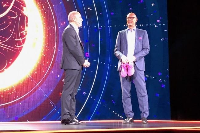 Pour mettre en avant son partenariat sur l'IA, Stéphane Richard a invité son homologue chez Deutsche Telekom, TimotheusHöttges. (Crédit S.L.)