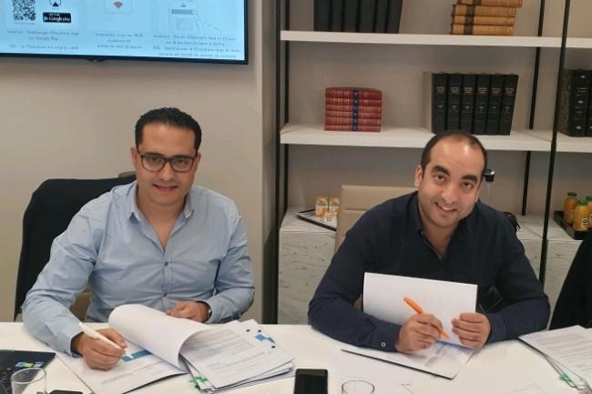 La solution de gestion des notes de frais d'Expensya a été intégrée avec les ERP les plus utilisés par les grandes entreprises et les PME. Ci-dessus, les co-fondateurs de la société, Jihed Othmani (à gauche), directeur technique, et Karim Jouini, DG. (Crédit : Expensya)