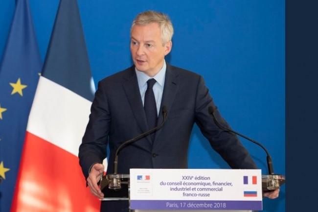 Le ministre de l'Economie et des Finances Bruno Le Maire annonçant le projet de taxer les GAFA pour leurs revenus en France dès le 1er janvier 2019. (crédit : D.R.)