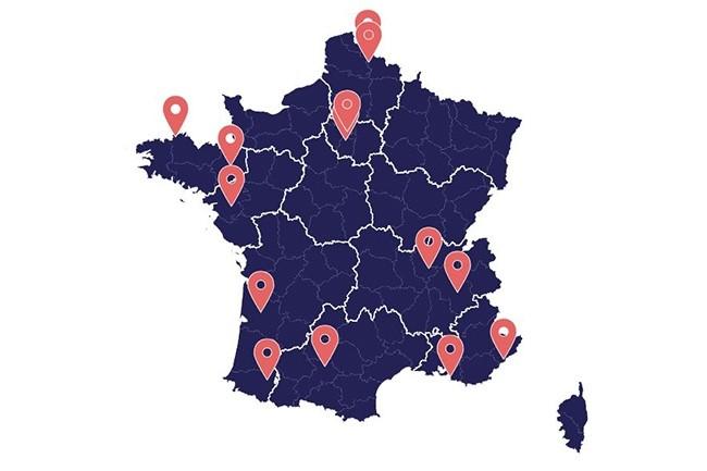 Au 27 décembre 2018, 25 tests de la 5G sont référencés dans le tableau de bord de l'Arcep dans toute la France. (Crédit : Arcep)