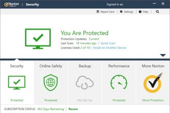Très dépouillé, l'interface de Norton Security a peu évolué. (Crédit D.R.)