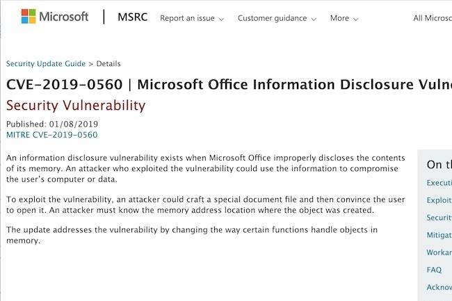 Une mise à jour est proposée sur le site Web de Microsoft pour combler la faille Office.