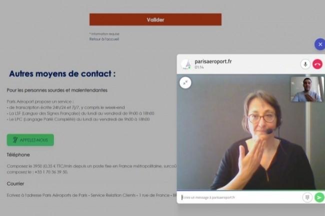 L'application RogerVoice est accessible par un bouton sur le site web des aéroports parisiens.