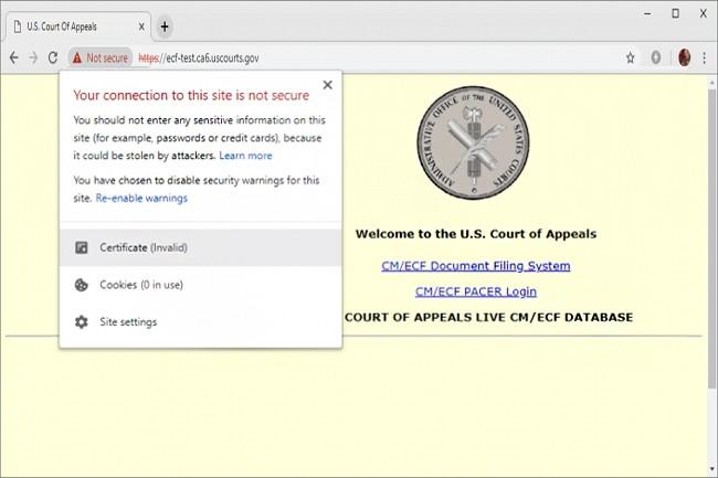 Le certificat DigiCert utilisé par ce site Web de la Court of Appeals des États-Unis a expiré le 5 janvier 2019 et n'a pas encore été renouvelé. (crédit : D.R.)