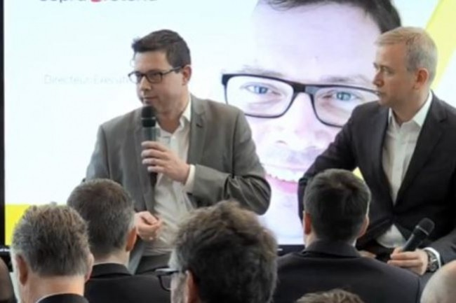 Cyril Malargé, directeur exécutif du pôle France de Sopra Steria (à gauche) aux côtés de Carlo Purassanta, président de Microsoft France le 17 janvier 2019. (crédit : Sopra Steria)