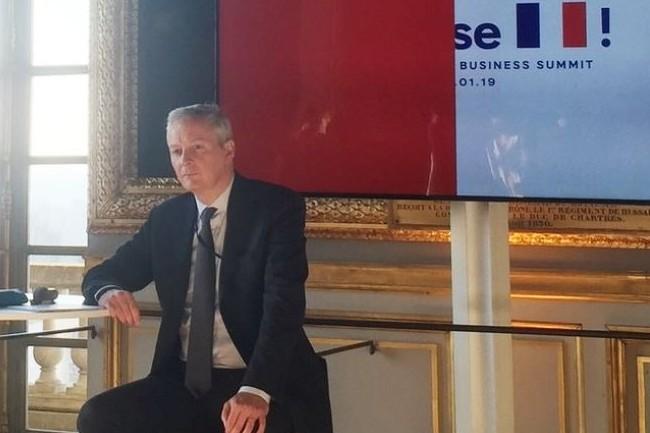 Le ministre de l'Economie Bruno Le Maire sur l'événement Choose France le 21 janvier 2019 incite les entreprises à investir en France... tout en ne s'empêchant pas de taxer les plus grandes du secteur numérique. (Crédit : Business France)