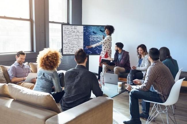 L'écran 75 pouces 4K de Dell est une dalle interactive géante pouvant être utilisée aussi bien dans les écoles que dans les entreprises. (crédit : D.R.)