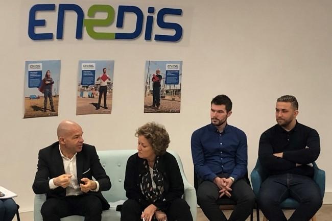 Eric Salomon, directeur régional d'Enedis à Paris, et Michaële Guégan, directrice des ressources humaines, ont présenté mercredi matin le plan de recrutement de la filliale d'EDF pour 2019. (Photo : Enedis)