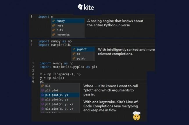 La dernière version de Kite peut suggérer un appel de fonction complet, avec ses arguments. (Crédit : Kite)