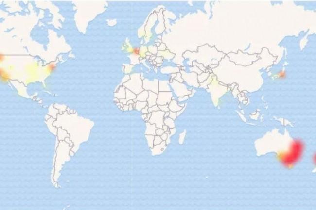 Les services Microsoft 365 ont été perturbés surtout en Australie et Nouvelle-Zélande mais également aux Etats-Unis et dans une moindre mesure en Europe. (Crédit : Martyn Williams, IDG NS)