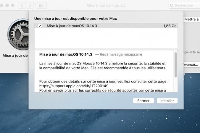 Pour corriger le bug Facetime, Apple pousse la mise à jour supplémentaire macOS 10.14.3.