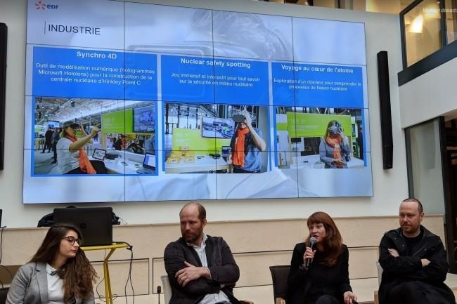 Une table ronde consacrée aux usages de la réalité virtuelle et augmentée dans les entreprises a été organisée vendredi 8 février matin à l'espace Leonard à Paris. Ont notamment participéFloran Couret, responsable innovation digitale et VR chez BNP Paribas Estate (à droite), Isabelle Paillard, chef du pôle valorisation du patrimoine d'EDF (au micro) et  Barbara Schiavi, responsable des projets VR chez Digitality Real (à gauche). crédit : D.F.