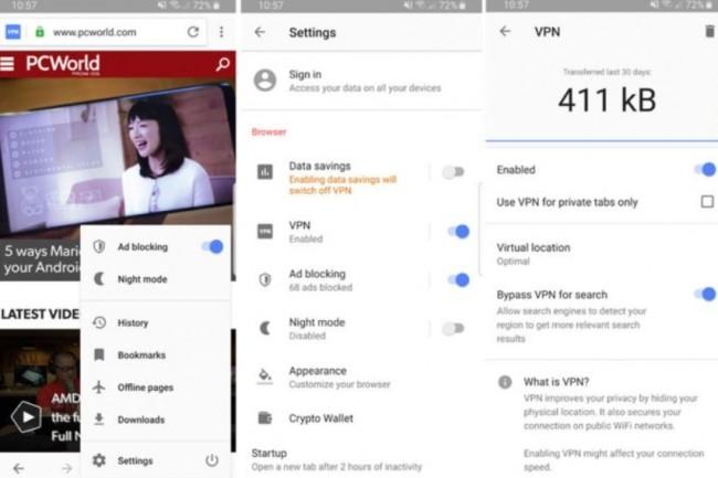 Trois tapes sur l'écran du mobile suffisent pour activer le nouveau VPN d'Opera intégré au navigateur. (Crédit : IDG)