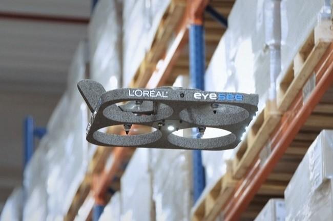Le drone Eyesee et la solution d'inventaire de Hardis Group ont été utilisés par l'Oréal pour son activité logistique de cosmétique. (Crédit Photo : DR)
