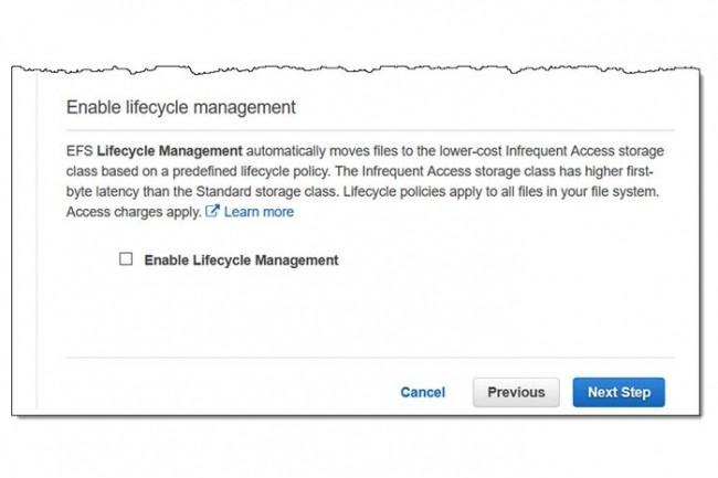 Pour bénéficier de la classe de stockage Infrequent Access dans EFS, il faut activer les fonctions Lifecycle Management permettant la gestion du cycle de vie des fichiers. (Crédit : AWS)