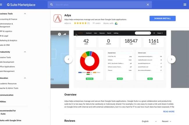 Adya est notamment intégré nativement à la marketplace de Google Suite, ainsi que celle de Slack. (Crédit : Adya)