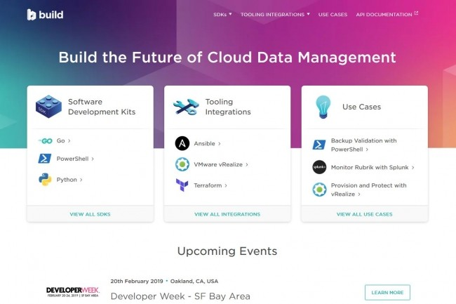 Sur le site Build ouvert par Rubrik, les projets open source sont répartis en trois catégories : les SDK, les outils de test et monitoring et, enfin, les cas d'usages. (Crédit : Rubrik)
