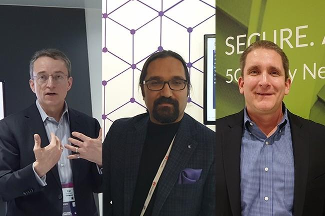 De gauche à droite : Patrick Paul Gelsinger, CEO de VMware ; Nabil Bukhari, vice-président en charge des produits chez Extreme Networks ; Jim Benson, directeur marketing produit chez Juniper. (Crédit : Nicolas Certes)