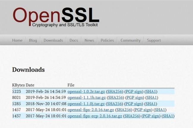 Les versions 1.0.2r et 1.1.1b d'OpenSSL sont disponibles au téléchargement sur le site du projet. (crédit : D.R.)
