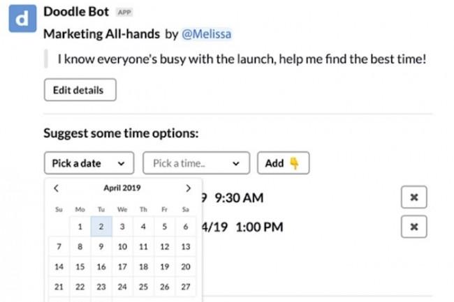 Doodle permet aux utilisateurs de proposer des horaires de réunion sans quitter Slack. (Crédit : Slack)