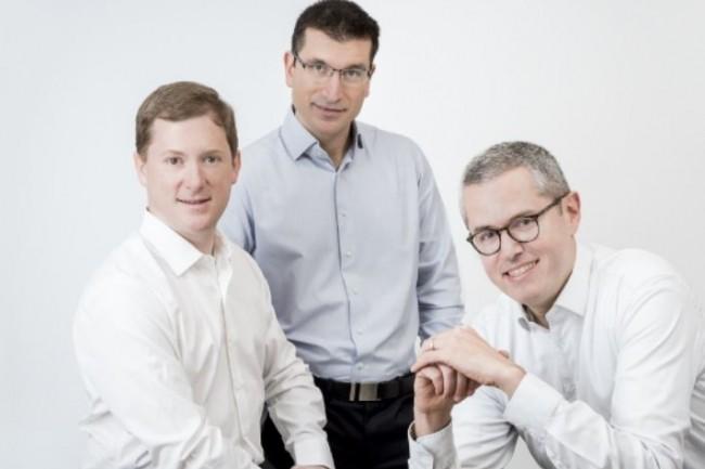 De gauche à droite, Grégoire Boutin, directeur des opérations, Catalin Ciobanu, directeur technique, et Vincent Lebunetel, directeur général de Boost.rs qui édite une app de cartographie des compétences. (Crédit : D.R.)