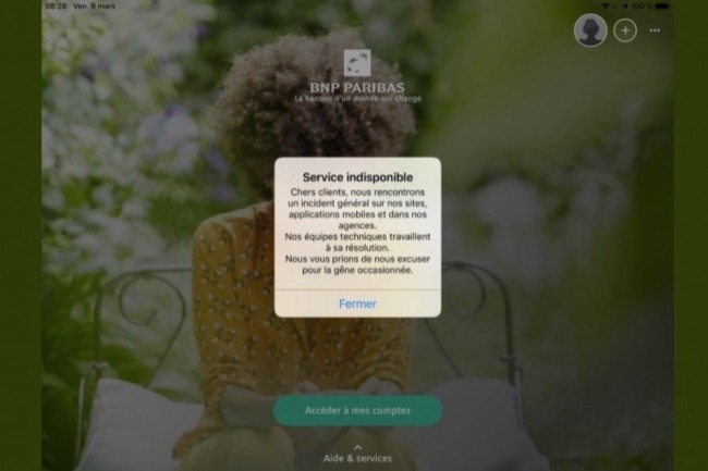 Le 8 mars 2019, à 8h30, l'application mobile de BNP-Paribas était toujours hors service. (Crédit : D.R.)