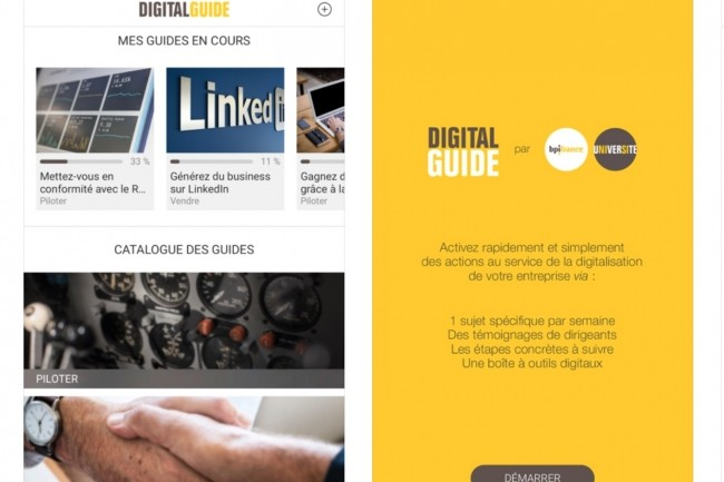 L'app Digital Guide de Bpifrance, sous iOS ou Android, détaille aux PME un sujet d'application numérique par semaine. (Crédit : D.R.)