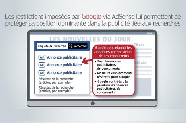 Ce sont les conditions d'utilisation de l'outil AdSense for Search de Google qui sont a l'origine de l'amende que la Commission européenne vient d'infliger à la firme de Mountain View. (Crédit : Commission européenne)